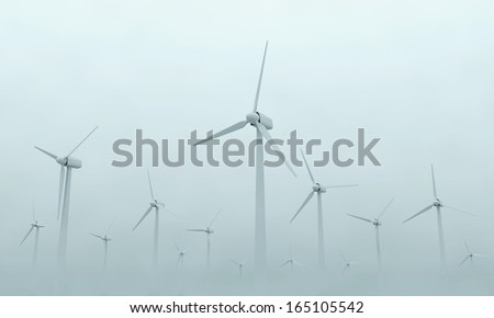 Modern Wind Turbines on Dense Fog. (Animation for this image see in my footage gallery)