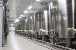 modern wine factory with large shine tanks for the fermentation
