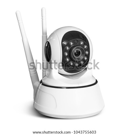 Modern wireless security camera isolated on white background with clipping path