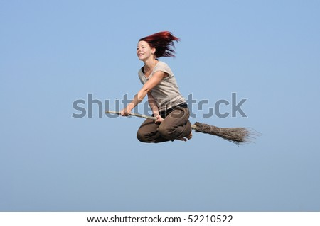 modern witch flying