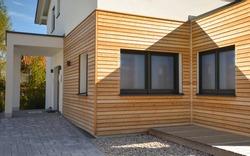 Modern wood paneled presentation house