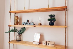 Modern wooden bookshelf with pieces of decor candles, mirror, plants hanging on ropes on white wall. Home interior