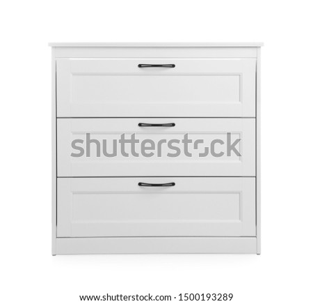 Modern wooden chest of drawers on white background Foto stock ©