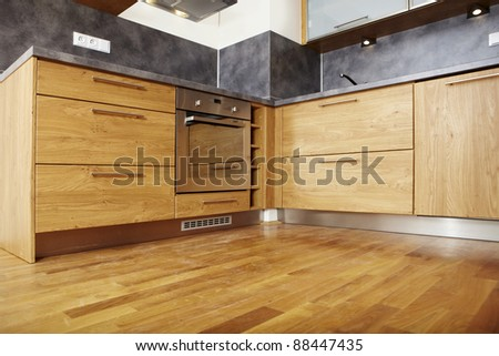 Modern wooden kitchen interior