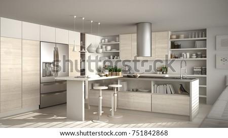 Modern wooden kitchen with wooden details, white minimalistic interior design, 3d illustration