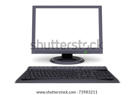 modern work desk with a black computer display and a wireless keyboard