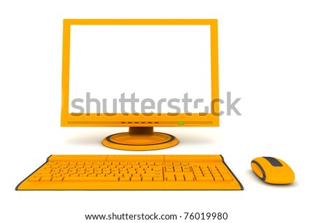 modern work desk with a computer display, a wireless keyboard and a wireless mouse - orange and black design