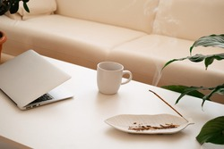 Modern workplace concept. Laptop coffee cup and aroma incense and plants.