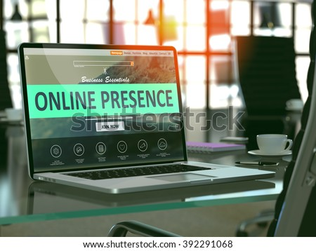 Modern Workplace with Laptop showing Landing Page with Online Presence Concept. Toned Image with Selective Focus. 3D Render.