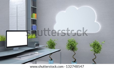 modern workspace conceptual illustration - stock photo