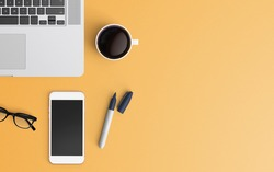 Modern workspace with laptop, coffee cup and smartphone copy space on color background. Top view. Flat lay style.