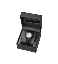 Modern wrist mechanical watch isolate on a white background. Men's watch for sports and everyday wear. Watch in an open gift case.