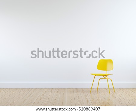 Modern yellow chair in white room interior parquet wood floor.