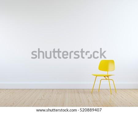 Modern yellow chair in white room interior parquet wood floor.