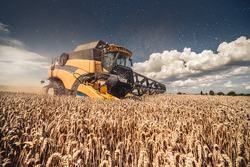 Modern yellow combine harvesting wheat during summer in Czech Republic, South Moravia, before the rain. Agricultural machine harvester working in the field using GPS for precision farming.