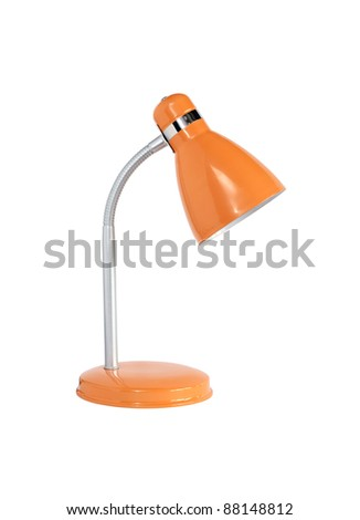 Modern yellow desk lamp on white background. Isolated with clipping path