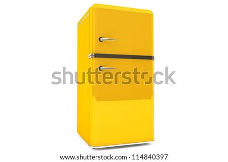 Modern yellow refrigerator on a white background.