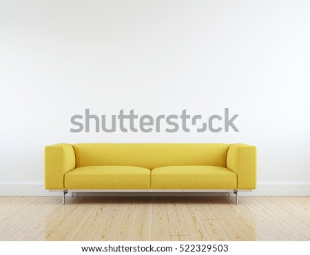Modern yellow sofa in white room interior parquet wood floor. #522329503