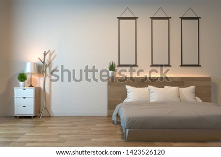 Modern zen peaceful Bedroom. japan style bedroom with shelf wall design hidden light and decoration japanese style.3D rendering
