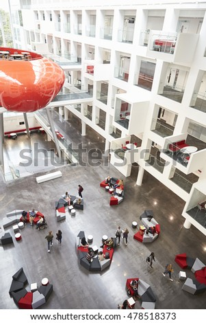 Modernist interior of a university atrium, vertical stock photo