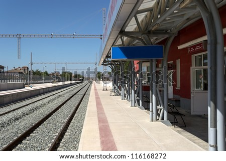 stock photo : Modernization of railway station - electrification and adding new rails