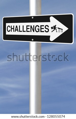 Modified one way road sign on challenges.