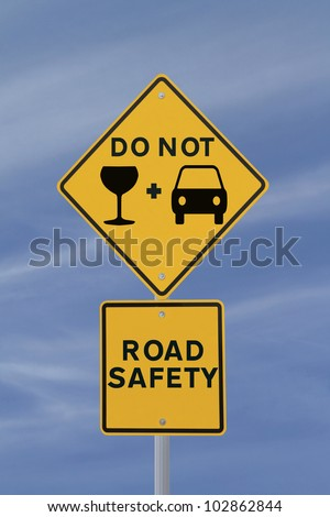 Modified road safety sign on the danger of drinking and driving