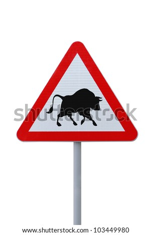 Modified road warning sign with a bull. Applicable to financial concepts. - stock photo