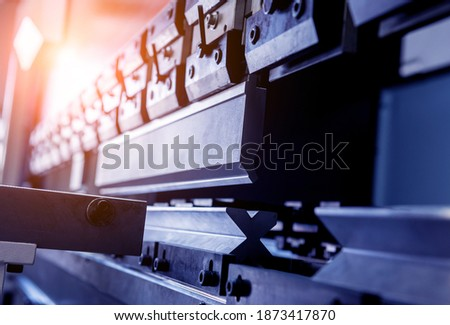 Modren hydraulic bending machine at metal manufactory Foto d'archivio ©