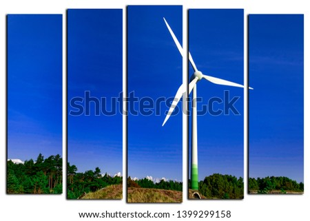 modular picture on white background . wind power mill on a background of blue sky .