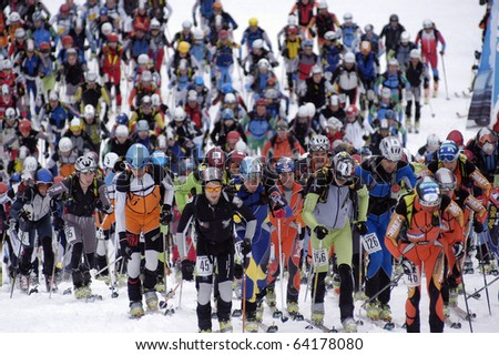 MOENA, ITALY - APRIL 01: Ski touring , Championship Cup of the Dolomites  April 01, 2007 in Moena, Trentino Alto Adige, Italy. #64178080