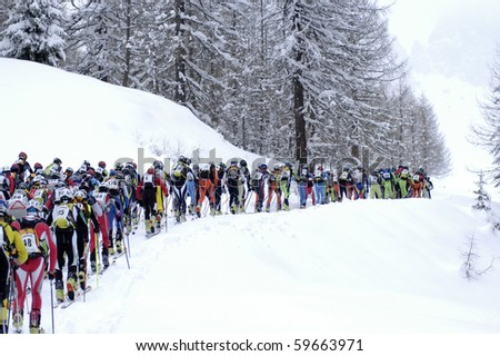 MOENA, ITALY - APRIL 01: Skiers at Championship Cup of the Dolomites ski touring April 01, 2007 in Moena, Trentino Alto Adige, Italy.