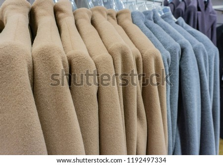 Mohair jacket on a clothes rack for the winter season