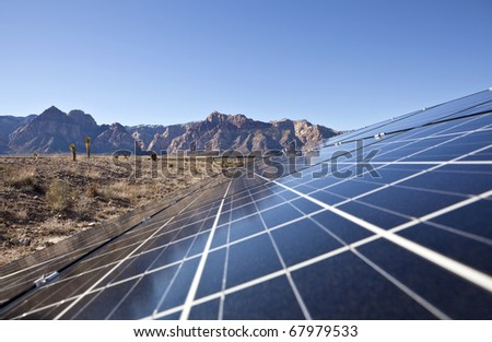 Mojave desert solar array at Red Rock Canyon National Conservation Area.