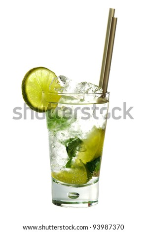 Mojito cocktail drink with lime isolated on white background