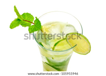 Mojito Cocktail in a Glass Beaker, closeup