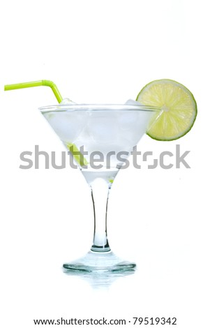 Mojito cocktail in glass with ice