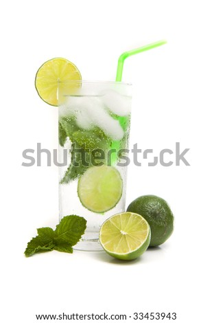 Mojito cocktail isolated against white background