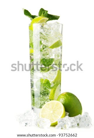 Mojito cocktail isolation on a white