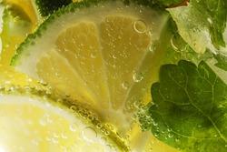 Mojito cocktail. lemon macro shot