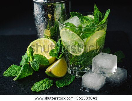 Mojito cocktail. Mint, lime, ice ingredients and bar shaker.  #561383041