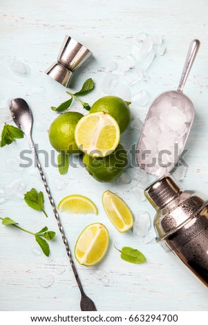 Mojito Cocktail.Mint, lime, ice ingredients for making  and bar utensils.Cold Drink on light background.Top View.Copy space for Text.selective focus. #663294700