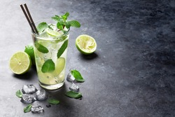 Mojito cocktail on dark stone table. With space for your text