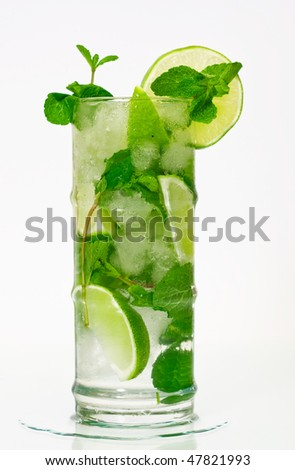 Mojito cocktail on isolated white background - stock photo