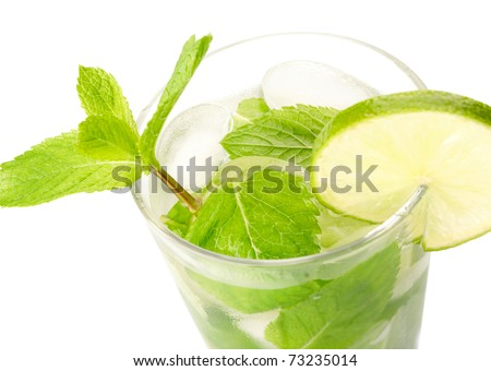 Mojito cocktail on white background