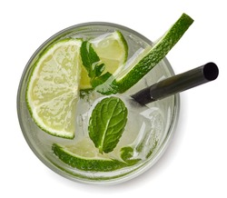 Mojito cocktail or soda drink with lime and mint isolated on white background. From top view