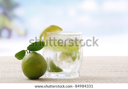 Mojito cocktail. Outdoors