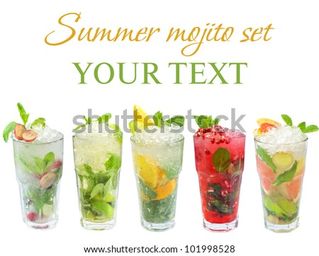 Mojito cocktail - summer drink set isolated on white