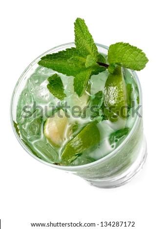 Mojito cocktail, top view