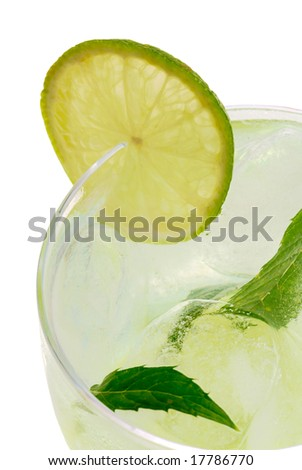 Mojito cocktail with a lime on white background.